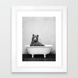 Brown Bear Bathtub Framed Art Print