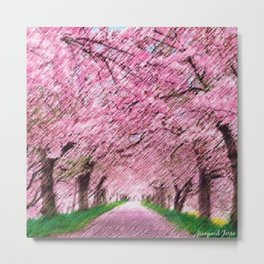 Cherry blossoms on an old New England back road landscape painting by Jéanpaul Ferro Metal Print