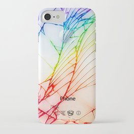 Rainbow Broken Damaged Cracked out back White iphone iPhone Case