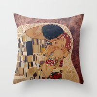 klimt Throw Pillows featuring Klimt copy by Elisa Gandolfo