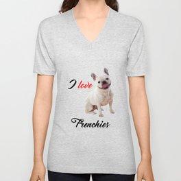 I Love Frenchies French Bulldog Photo Unisex V-Neck