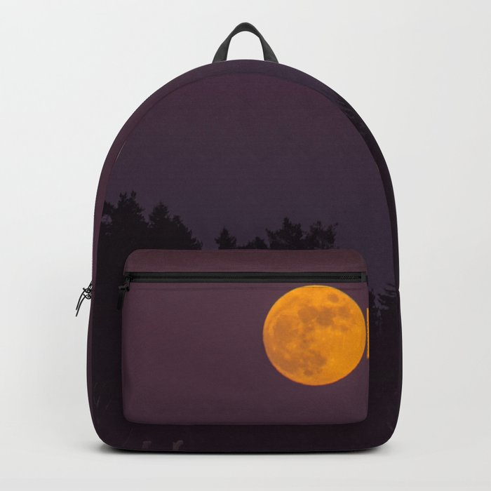 Full Moon - Winter Night With Reindeer At Edge Of Forest #decor #buyart #society6 Backpack