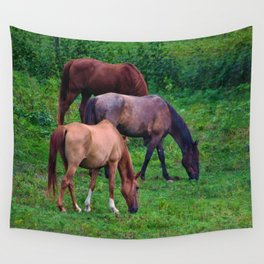 Grazing Horses Wall Tapestry