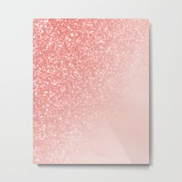 She Sparkles Deep Rose Gold Pastel Pink Luxe Geometric Metal Print