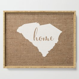 South Carolina is Home - White on Burlap Serving Tray