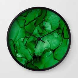 Deep Green Abstract: Original Alcohol Ink Painting Wall Clock