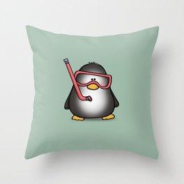 Snorkling Penguin Throw Pillow