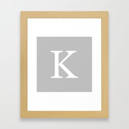 Silver Gray Basic Monogram K Framed Art Print