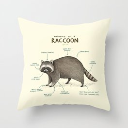 Anatomy of a Raccoon Throw Pillow