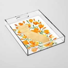 Gold California map with california poppies Acrylic Tray