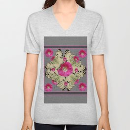 CHARCOAL GREY PINK FLOWERS YELLOW BUTTERFLIES Unisex V-Neck