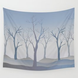 Silhouettes of Trees. Bad Weather Day Wall Tapestry
