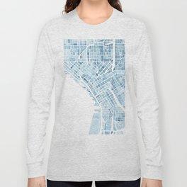 Map Seattle Washington Blueprint watercolor map Long Sleeve T-shirt