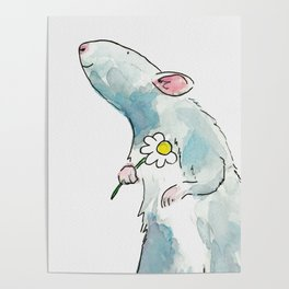 Woodland mouse with a flower Poster