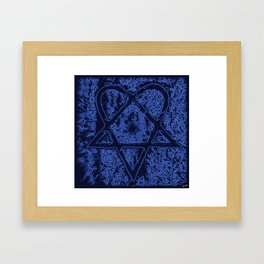 Nightfall Blue Heartagram Framed Art Print