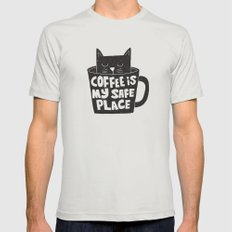 coffee is my safe place MEDIUM Silver Mens Fitted Tee