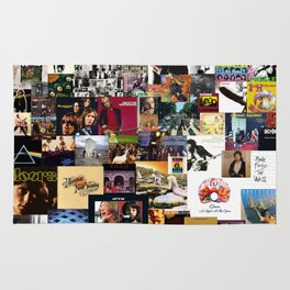 Classic Rock And Roll Albums Collage Rug