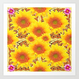 Yellow Caramel Sunflowers on Floral Patterns Art Print