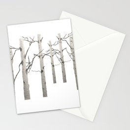 Birch Tree Forest White Bark Aspens Winter Stationery Cards