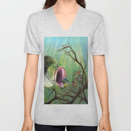 Large Mouth Bass and Clueless Blue Gill Fish Unisex V-Neck