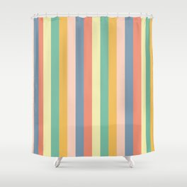 Retro Stripes Gold Blue Green Red Shower Curtain