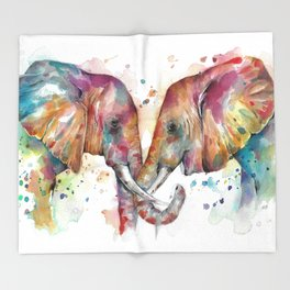 Sunset Elephants Throw Blanket