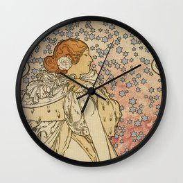 Camille by Alphonse Mucha Wall Clock