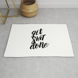 Get Shit Done Black and White Motivational Typography Poster for Office or Workplace Decor Wall Art Rug