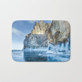 Blue Ice of the Lake Baikal Bath Mat