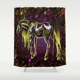 Yellow Love Horse Shower Curtain