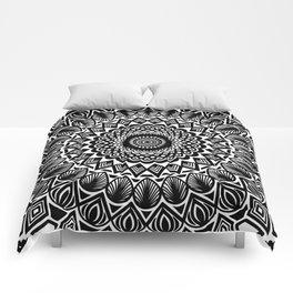 Detailed Black and White Mandala Comforters
