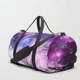 Black Trees Purple Fuchsia Blue Space Duffle Bag