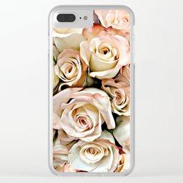 Delicate Peach Roses Clear iPhone Case