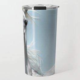 Arabian White Horse Painting Travel Mug