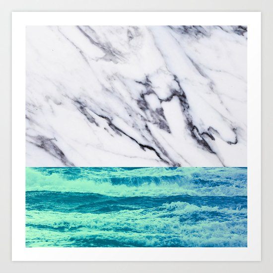 Marble Ocean iPhone Case and Throw Pillow Design Art Print
