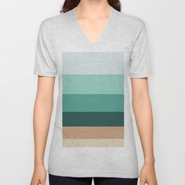 Teal Turquoise and Suede Geometric Pattern Colour Block Stripes Unisex V-Neck