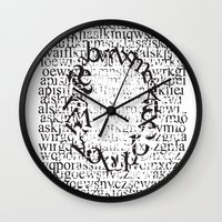 letters Wall Clocks featuring Letters  by Enver Yigit