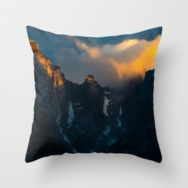 Last breath of sun shining on majestic mountains Throw Pillow