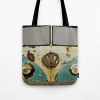 vw Tote Bags featuring VW Rusty by Alice Gosling