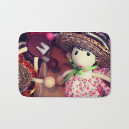 Wooden doll on the Christmas market Bath Mat