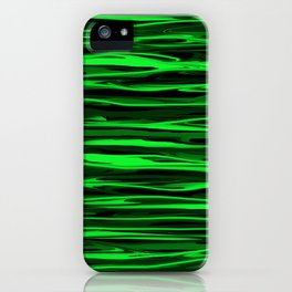 Lime Green and Black Stripes iPhone Case