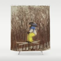 skiing Shower Curtains featuring Child Skiing by Marnie