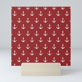 Maritime Nautical Red and White Anchor Pattern - Medium Size Anchors Mini Art Print