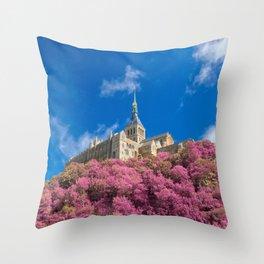 Mont Saint-Michel Abbey - Pink Fantasy Throw Pillow