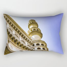 Looking up at One of the Minarets at the Charminar Mosque in Hyderabad, India Rectangular Pillow