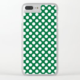 White and dark green polka dots Clear iPhone Case