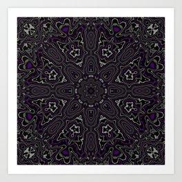 Purple, Gray, and Black Kaleidoscope Art Print