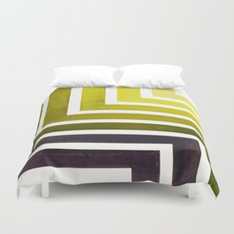 Olive Green Mid Century Modern Watercolor Colorful Ancient Aztec Art Pattern Minimalist Geometric Pa Duvet Cover