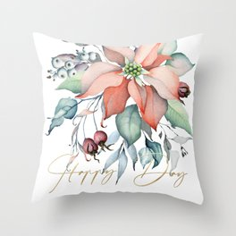 Happy Day – Poinsettia. Flower bouquet Throw Pillow