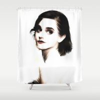 emma watson Shower Curtains featuring EMMA by André Joseph Martin